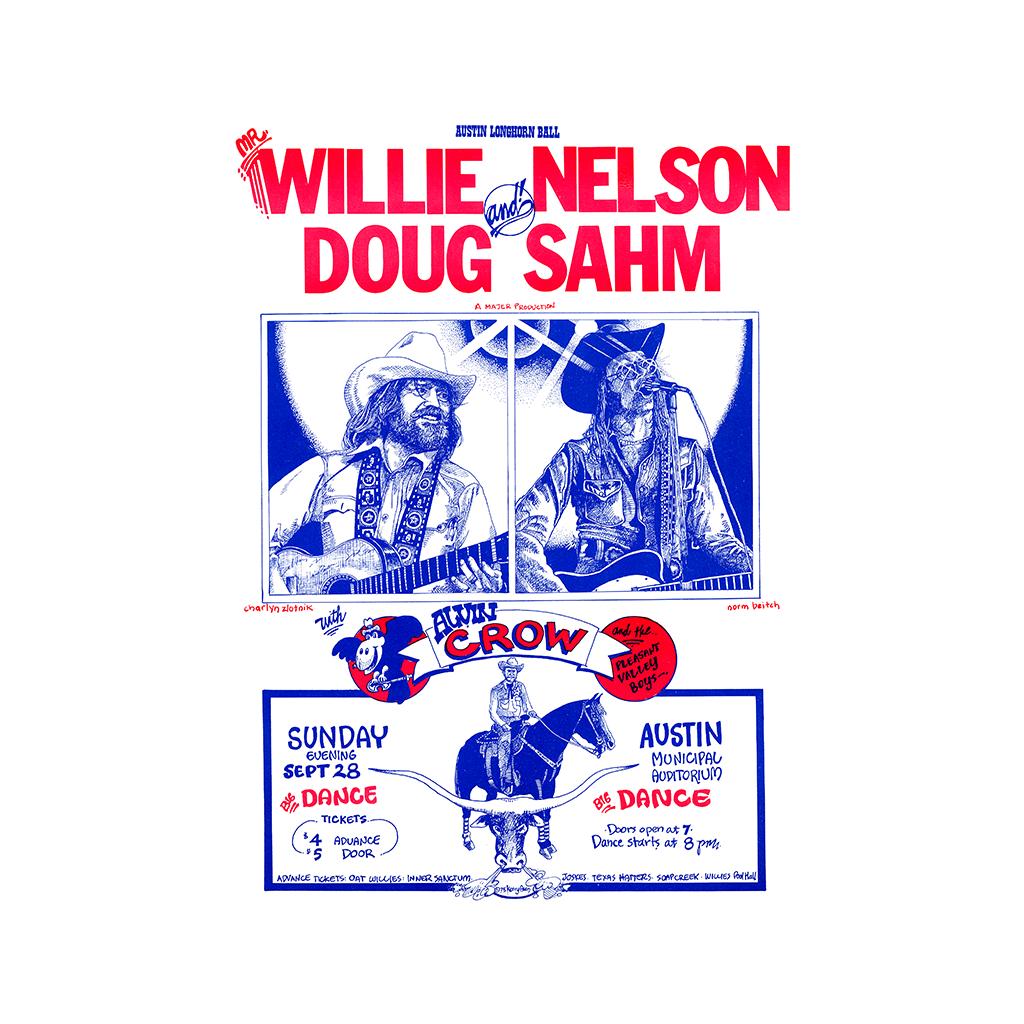 Willie Nelson Doug Sahm Concert Poster