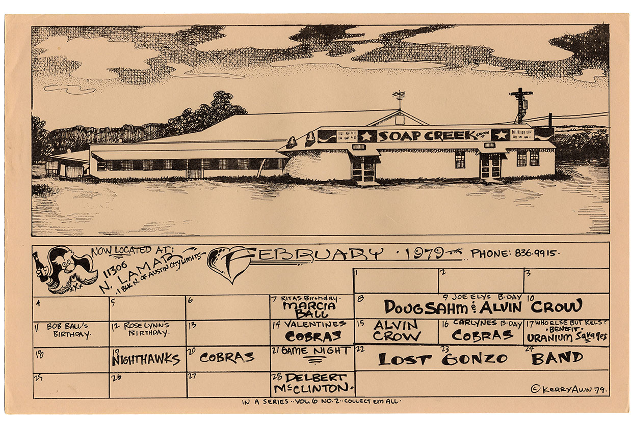 Soap Creek II Opening Month Calendar (February 1979) Kerry Awn Art