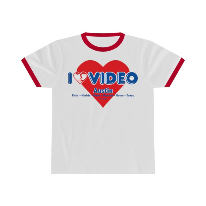 I Luv Video Ringer T Shirt - Austin, TX.